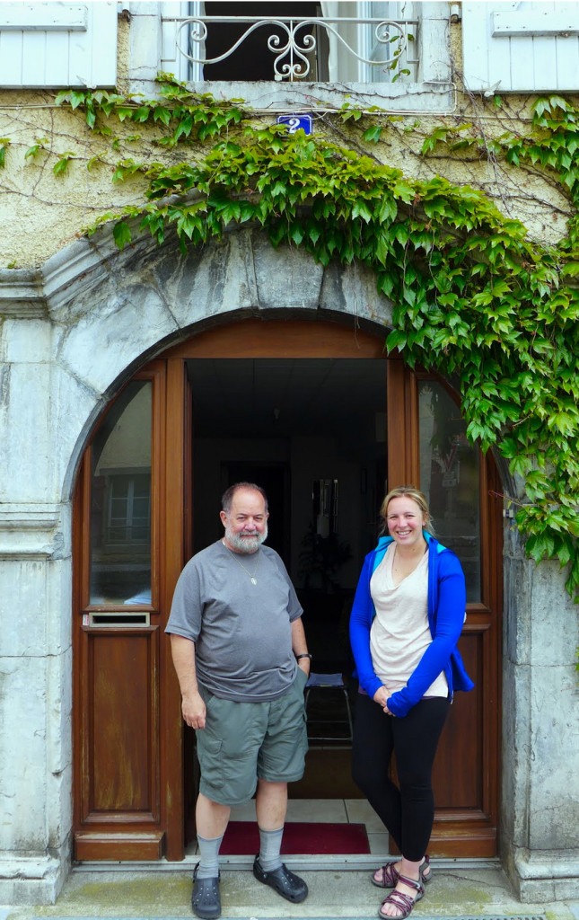 The first person we shared a room with, in a pilgrim hostel- Gite (as the French call it) or Albergue (as the Spanish call it) was David Means. Father David Means. I wonder if it was a sign, that the first pilgrim we met was a priest? Father Means is a kind man serving a Parish in St. Louis, Missouri. We roomed with him in a monastery in Lestelle-Bétharram but coincidentally ran into him here in Arudy.