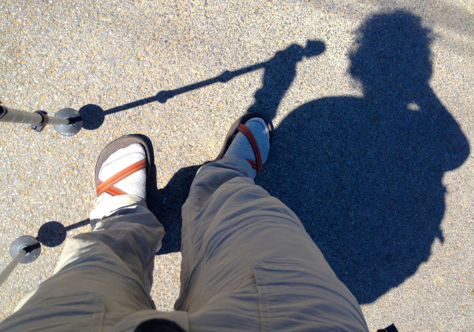 And we (I) stop complaining about all my blisters, and I switch back and forth from bare feet to socks, in my sandals.