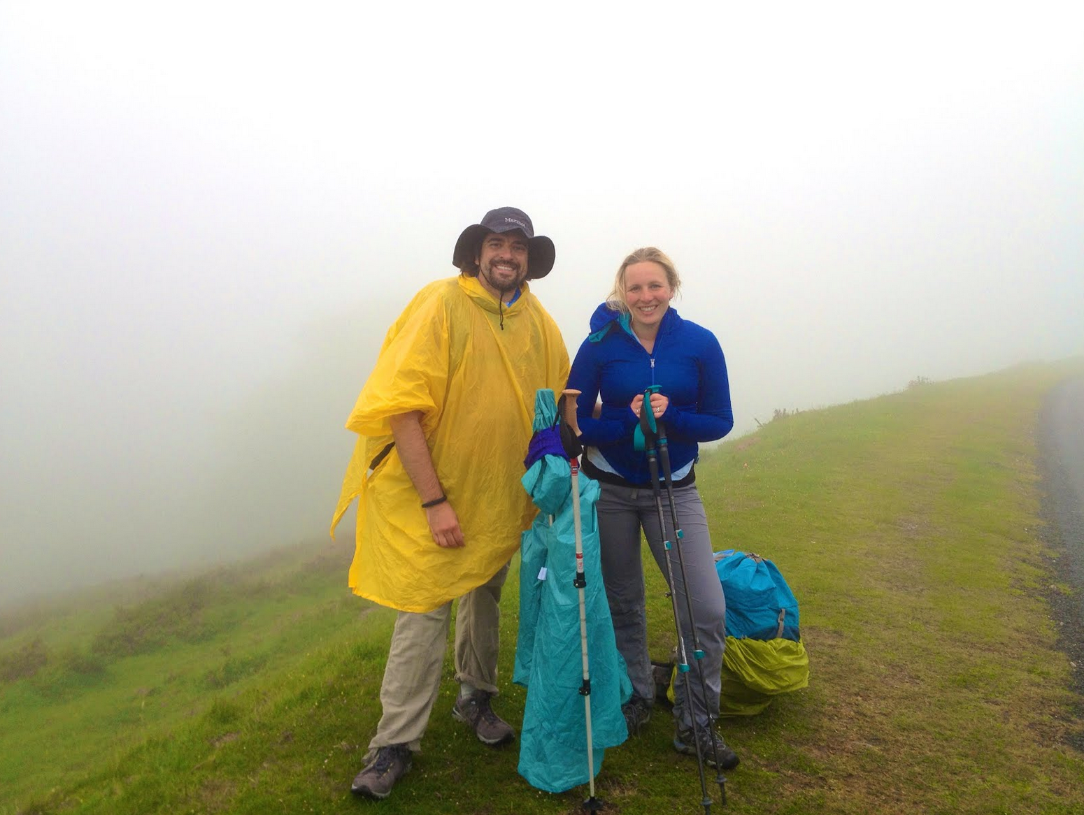 There was grumbling in the clouds and from Shannon. But it was thrilling as well. We were pushing forward slowly on a mountain with very little visibility.